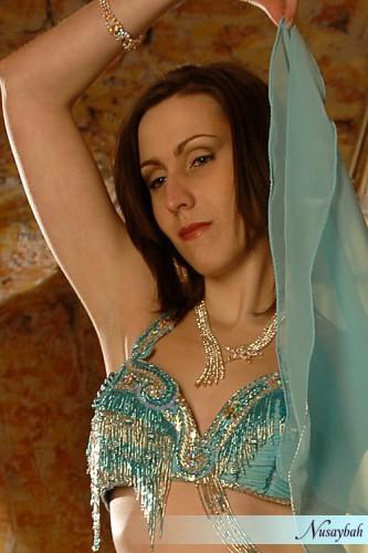 belly dancer, blue costume